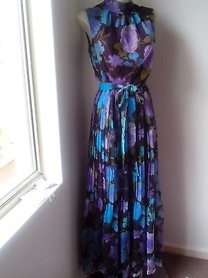 1970,s vintage blue floral chiffon maxi with cowl neck and pleated long skirt
