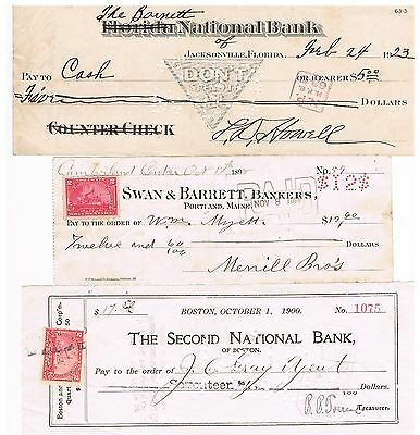 EAST COAST BANK CHECK LOT - 13 Different Checks From 1871 To 1941