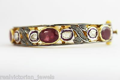 Trendy Low Priced Hand Crafted Antique Finish Rose Cut Diamond & Ruby Bracelet