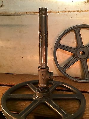 TWO Heavy Gauge Vintage Steam Punk Iron Lamp Base Gears Pulley. See Pics!!
