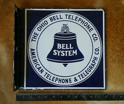 Vintage Sign Porcelain Ohio Double Sided Flange Telephone Telegraph Company.