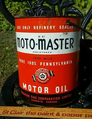 Oil Can Canadian Tire Motor Master Vintage Tin Pail Antique Canada Advertising