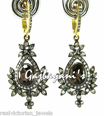 Stunning Rose Cut Diamond & Natural Fine Smoky Topaz Stone Earring
