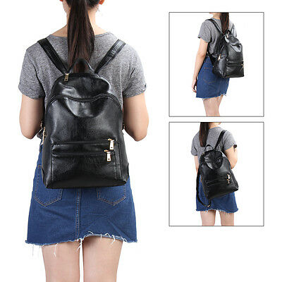 Hynes Victory Fashion Backpack Vegan Leather School Bag for Teenage Girl Black