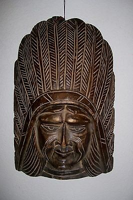 Vintage Hand carved wooden head bust wall hanging