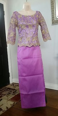 Women's Khmer Cambodia Traditional Wedding Blue Violet with Gold Lace Size Small