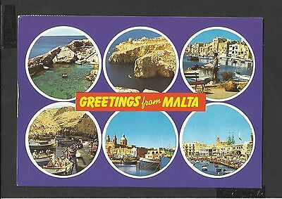 Colour Postcard General Views Greetings From Malta posted 1989