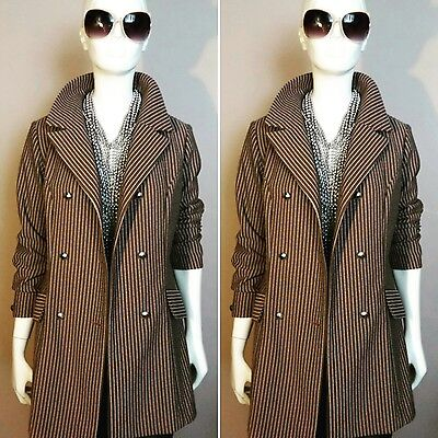 "Vintage 1980's ""BELLINO"" Brown, Double Breasted Pinstripe Blazer. Size 14."