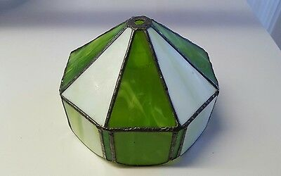 Tiffy style 8 Sided Green & White Stained  Glass Lamp Shade