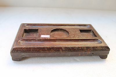 1890's Antique Old Hand Carved Wooden Table Ink Pot Stand NH3314