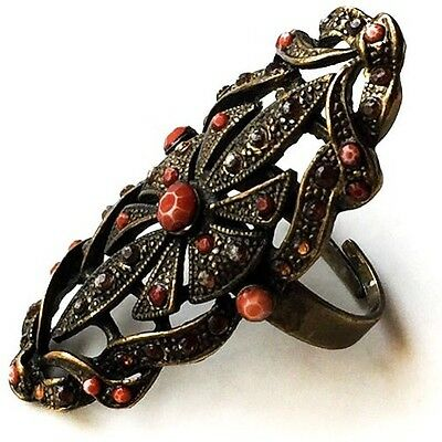 Vintage Art Deco Silver, Marcasites,  Coral Ring Size 6. Beautiful!