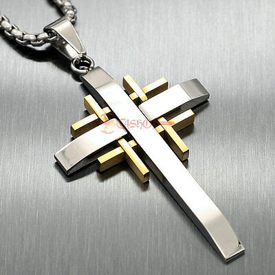 Men's Huge Silver Gold 316L Stainless Steel Cross Necklace Chain Pendant