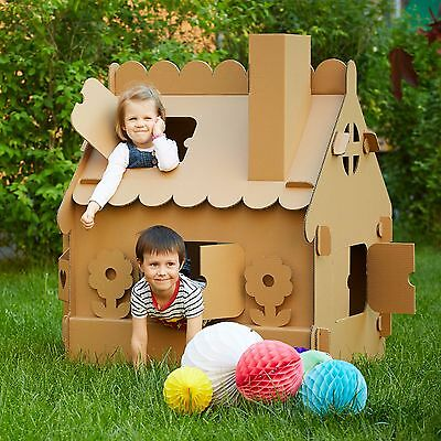 Kids Playhouse. Cardboard playhouse.Creative Crafts Playhouse for kids. Best Toy
