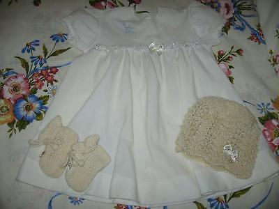 Vintage Brushed Nylon Baby/Old Doll Dress, Booties and New Beanie