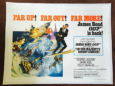 On Her Majesty's Secret Service UK Quad Poster Linen Backed 1968 James Bond 007