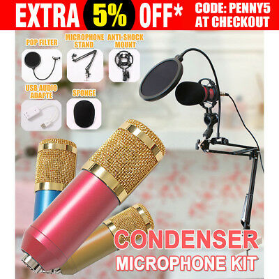 BM800 Condenser Microphone Kit Studio Suspension Boom Scissor Sound Card 2017