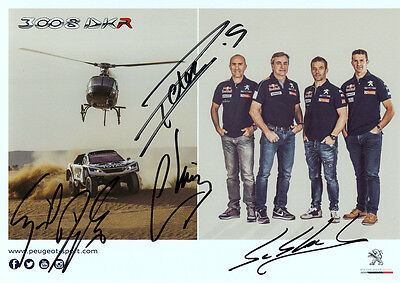 Team Peugeot Rallye Dakar Loeb,Peterhansel,Sainz,Despres original signed !! TOP