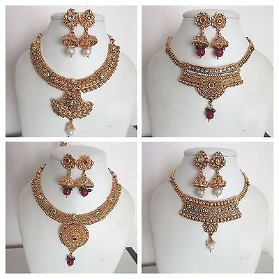 Indian Traditional Fashion Gold Tone Choker Bridal & Wedding Party Jewelry Set