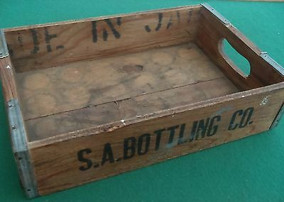 ADVERTISING, WOODEN. BOTTLED DRINKS CRATE / TRAY S.A. BOTTLING Co. date unknown