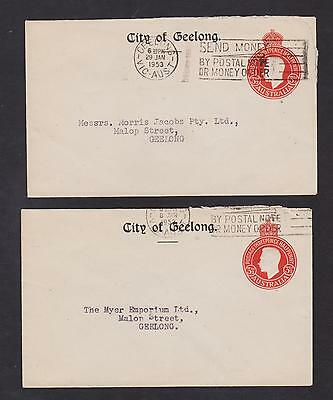 AUSTRALIA PAIR OF KGVI 3 1/2d RED PTPO CITY OF GEELONG 1950s