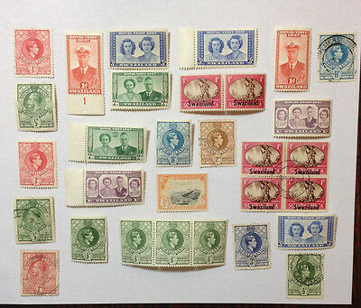 Swaziland 31 mint/used stamps includes a strip, paid & block some overprints.