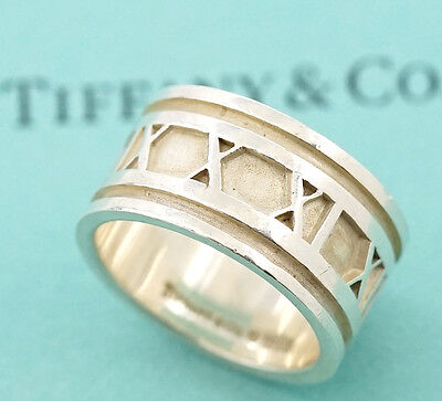 TIFFANY&Co Atlas Wide Band Ring size US 9 Sterling Silver 925 w/BOX #575