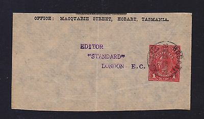 AUSTRALIA KGV 1d RED NEWSPAPER WRAPPER PIECE ONLY HOBART 1915