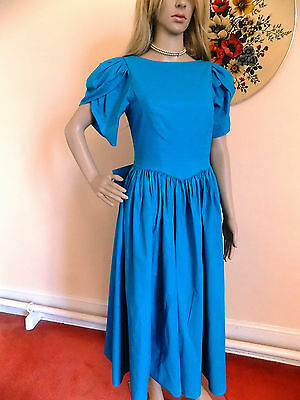 Vintage 1980s Laura Ashley Turquoise (Green) Peasant Dress  UK Size 10