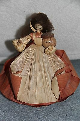 Nan's Corn Husk Doll Lady W/ Cookie Jar in One Hand & A Cookie In The Other
