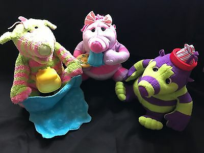"3 x Fisher Price THE FIMBLES Characters Animated 11"" BABY POM, BABY BO & ROLY MO"