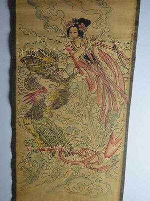1.3 m, Collectible Old paper Handwork painting Scroll 龍凤呈祥