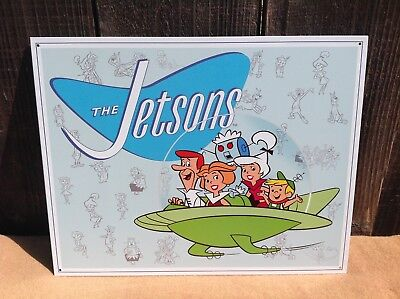 THE JETSONS Family Sign Tin Vintage Garage Bar Decor Old Rustic Hanna Barbera