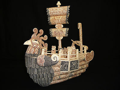 Superb Chinese Phoenix Bone Boat 7 Immortals Signed Barca Cinese In Osso Firmata