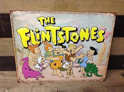 THE FLINTSTONES Family Fred Retro Sign Tin Vintage Garage Bar Decor Old Rustic