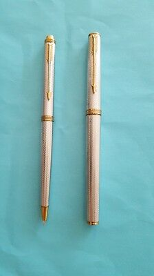 Parker Premier Silver Plated Barley Corn Fountain Pen - Matching Pencil