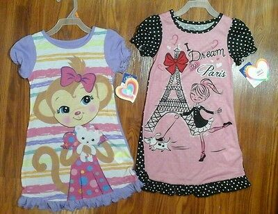 New w Tags Girls knit lot of 2 nightgown pajamas size 4t