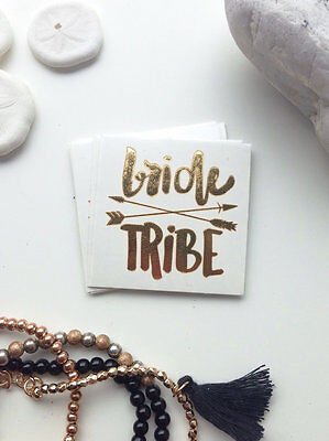 Bride Tribe Gold Temporary Transfer Tattoo Hen Do Party Weekend Wristband