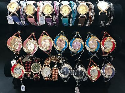 Job Lot 20 x LADIES FASHION WATCHES All Brand New Various Colours And Styles