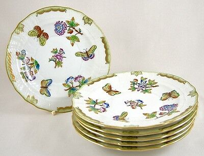 """Herend Porcelain Queen Victoria Vbo 7"""" Dessert Plates X 6 1516 1St Perfect!"""