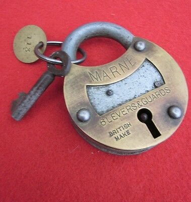 VINTAGE BRASS & STEEL  PADLOCK WITH KEY made in Britain date unknown