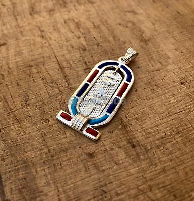 Egyptian Personalized Name Sterling Silver Enamelled Dangled Cartouche