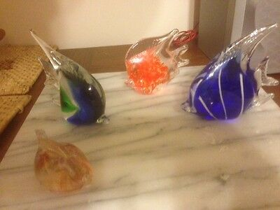 collection of 4 glass fish ornaments