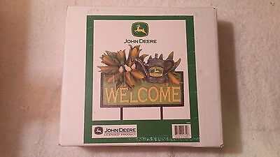 JOHN DEERE 2000s TRADEMARK MKTG YARD STAKE OR WALL WELCOME SIGN NEW IN BOXES