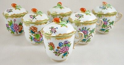 HEREND PORCELAIN QUEEN VICTORIA VBO CHOCOLATE CUPS & COVERS 745 x 6 1ST PERFECT!