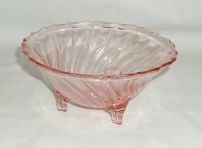 """Jeannette SWIRL PINK *5 1/2"""" 3- FOOTED CANDY DISH*"""