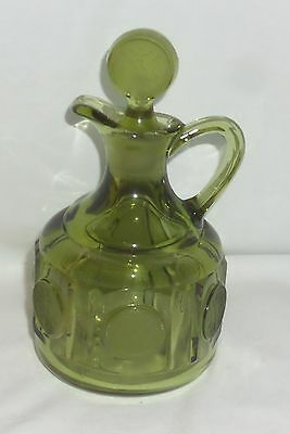 """Fostoria COIN FROSTED OLIVE GREEN *5"""" CRUET w/STOPPER*"""
