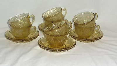 8 Federal SHARON/CABBAGE ROSE AMBER *CUPS & SAUCERS*
