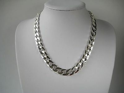 "Heavy Mens Silver 12mm Curb Chain Necklace  20"" 24"" 30"" or 8"" Bracelet"