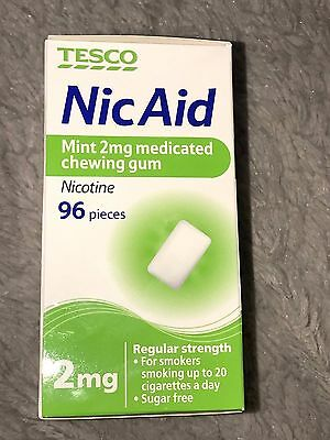 Tesco Nic Aid Mint 2mg Medicated Chewing Gum Nicotine - 96 Pieces - Exp 12/2015
