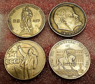 Russia (U.S.S.R.) 1 Rouble Commemorative Coins *Lot of 4 Coins*